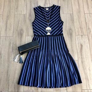 Anne Klein V Neck Fit Flare Dress Stripe